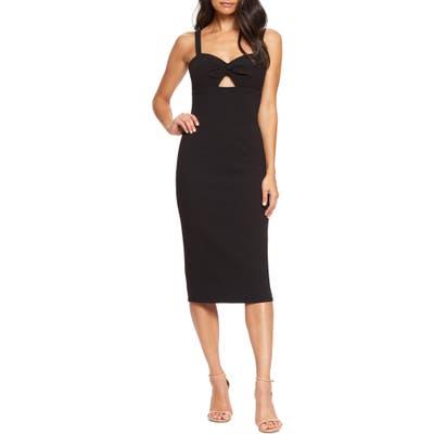 Dress The Population Eve Sweetheart Twist Front Sleeveless Midi Sheath Dress, Black