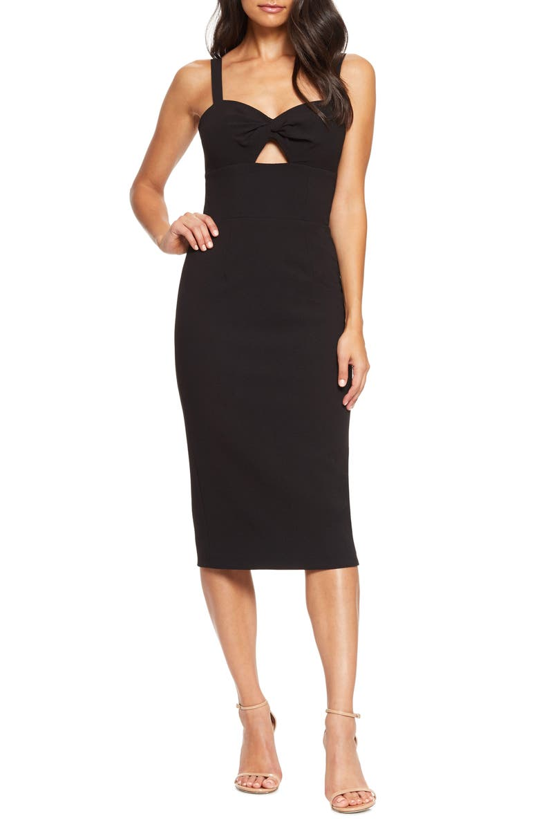 DRESS THE POPULATION Eve Sweetheart Twist Front Sleeveless Midi Sheath Dress, Main, color, BLACK