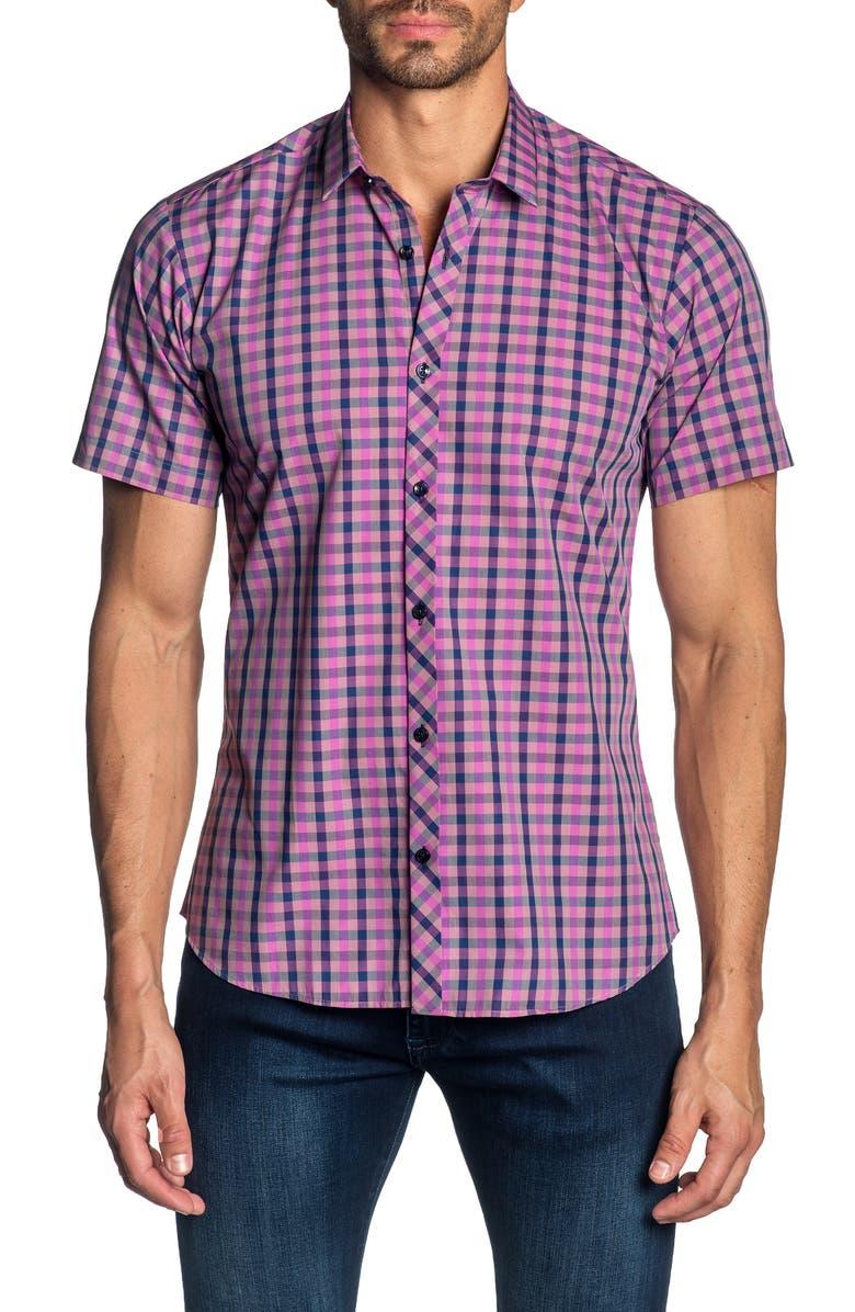 JARED LANG Trim Fit Gingham Cotton Sport Shirt, Main, color, 500