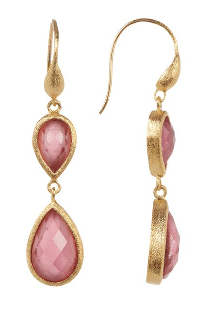 Image of Rivka Friedman Satin Faceted Cat's Eye Crystal Inverted Teardrop Earrings