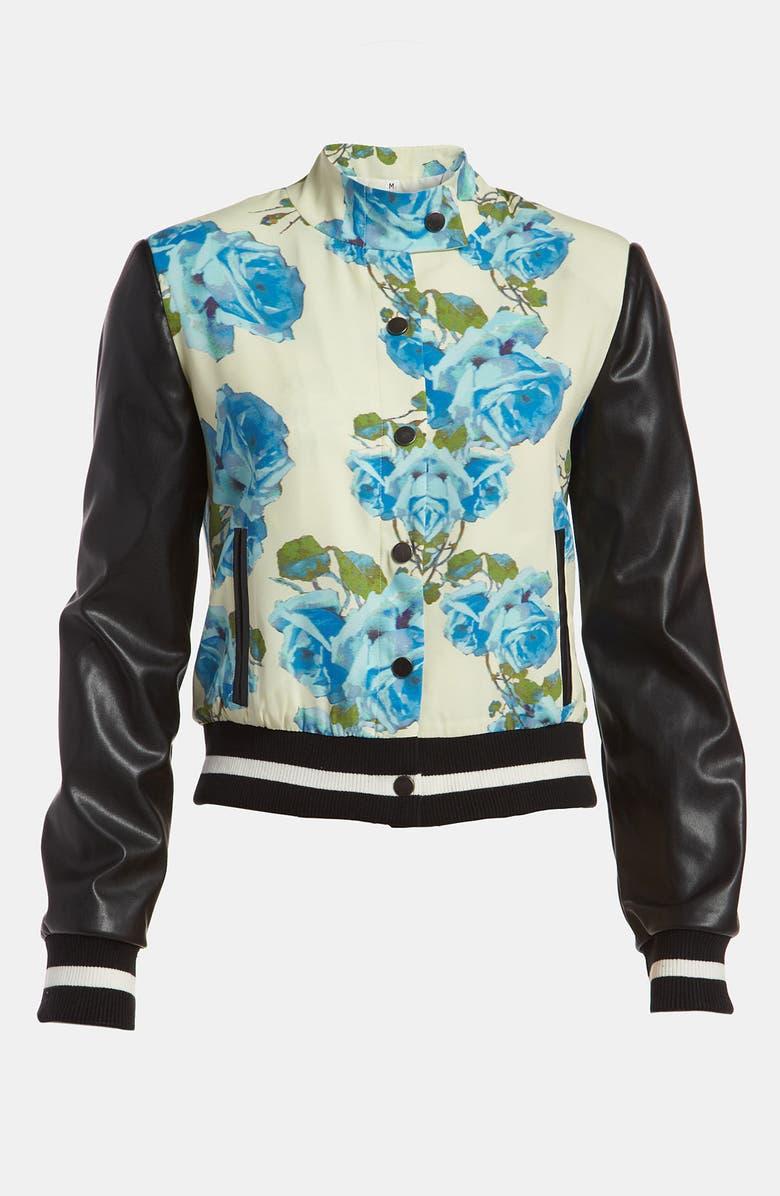 MURAL 'Turning Rose' Letterman Jacket, Main, color, 400