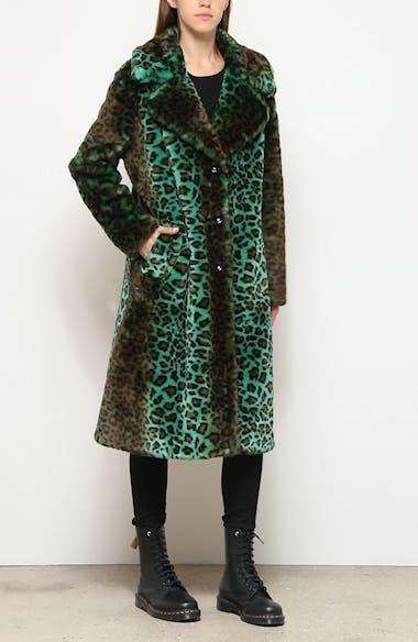 Fanny Gradient Leopard Print Faux Fur Coat, video thumbnail