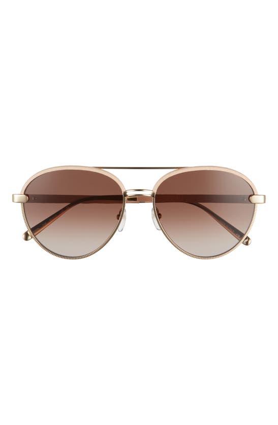 Salvatore Ferragamo 59mm Gradient Aviator Sunglasses In Gold/ Nude Leather/ Brown