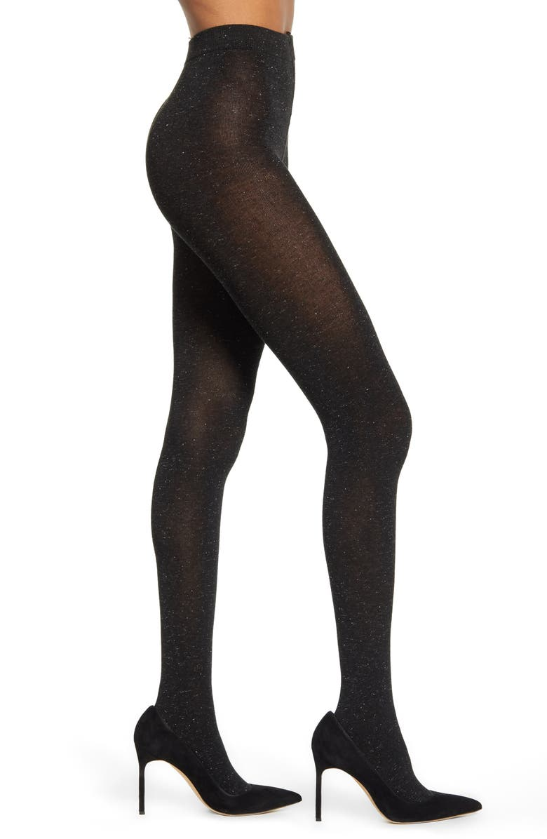 NORDSTROM Textured Sparkle Tights, Main, color, BLACK