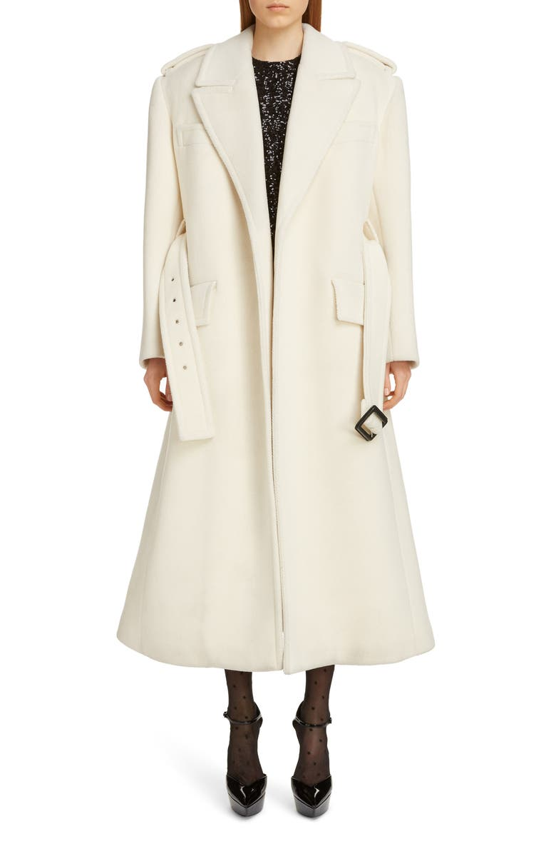 SAINT LAURENT Belted Wool Trench Coat, Main, color, 950