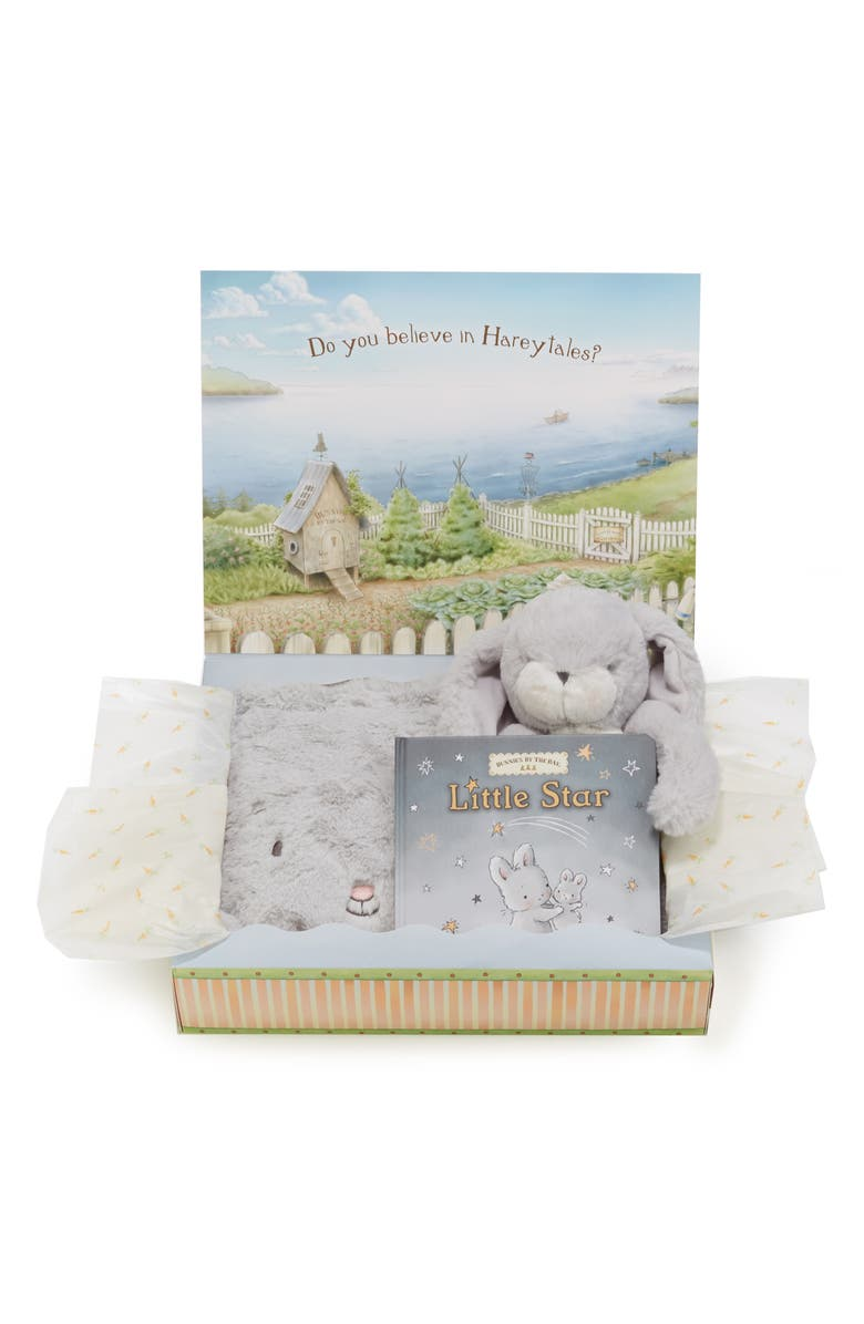 BUNNIES BY THE BAY Twinkle Tuck Me In Blanket, Stuffed Animal & Book Set, Main, color, GREY