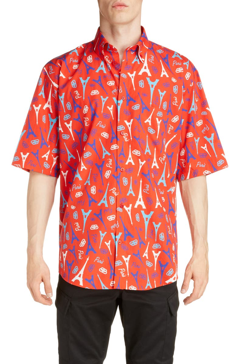 BALENCIAGA Eiffel Tower Button-Down Shirt, Main, color, RED