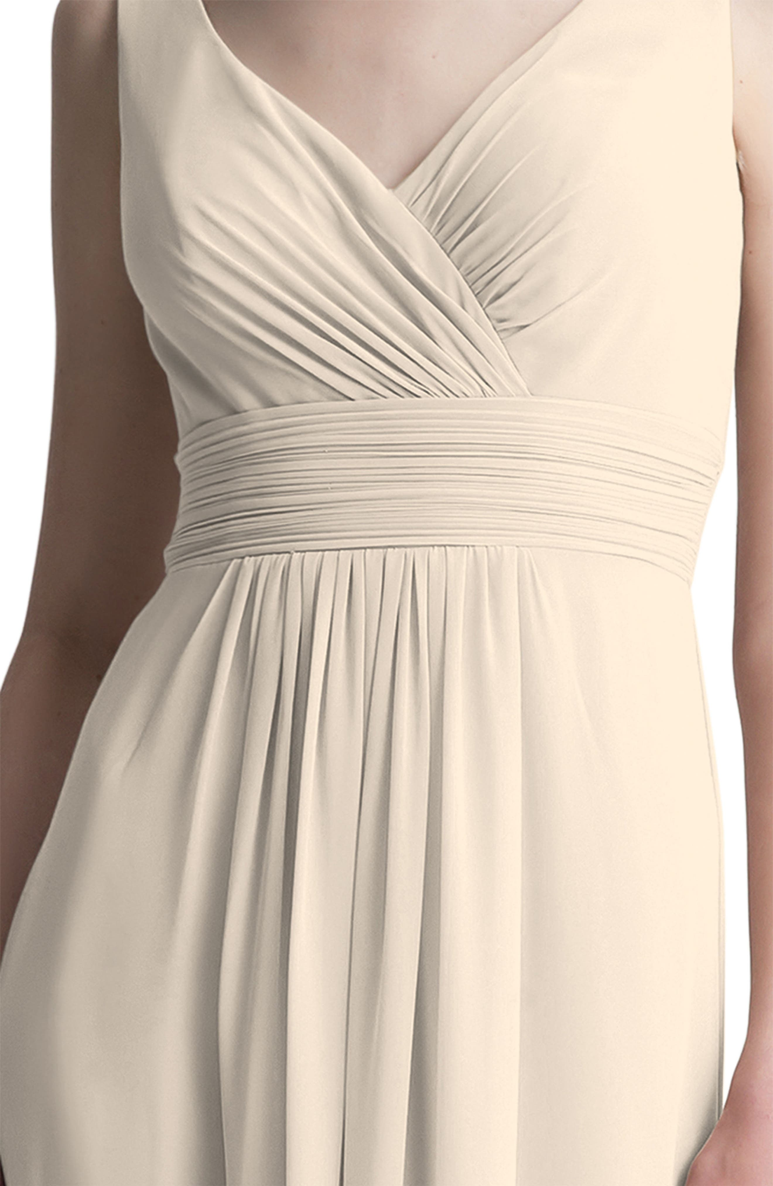 ,                             V-Neck Chiffon A-Line Gown,                             Alternate thumbnail 3, color,                             CHAMPAGNE