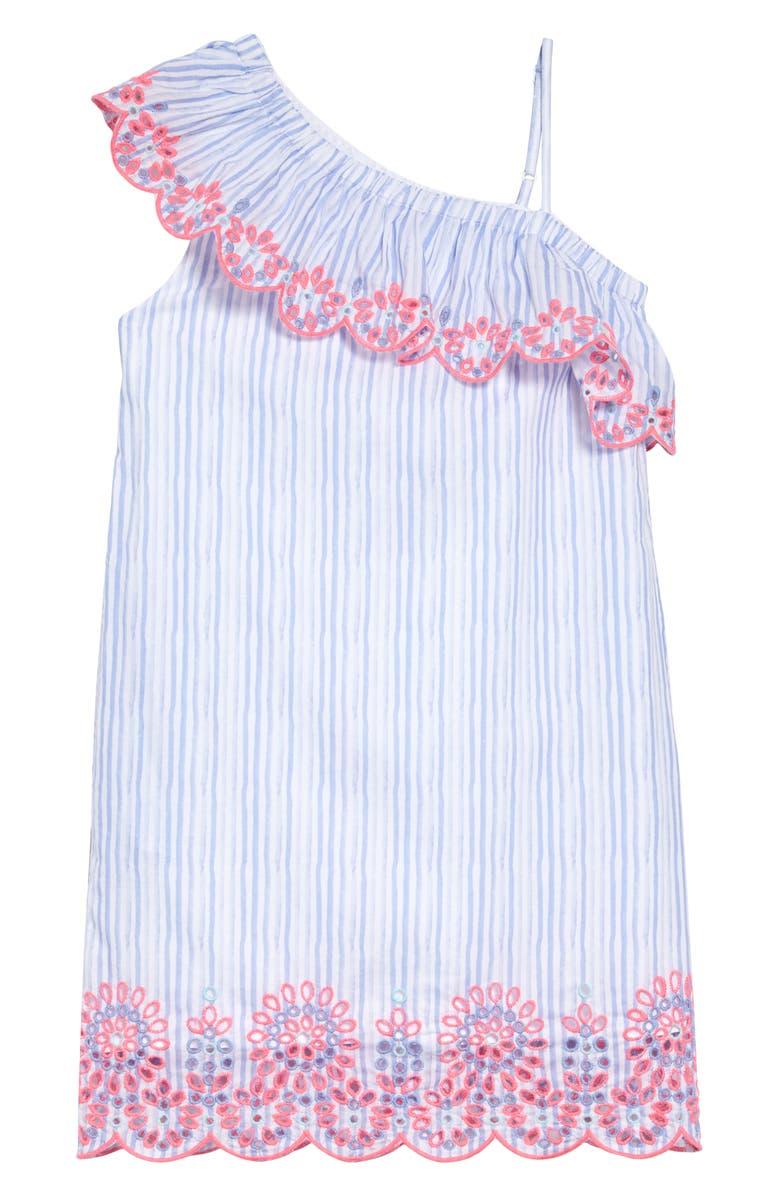 VINEYARD VINES One-Shoulder Embroidered Eyelet Dress, Main, color, 400