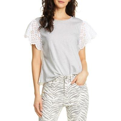 La Vie Rebecca Taylor Eyelet Sleeve Cotton Jersey Top, Grey