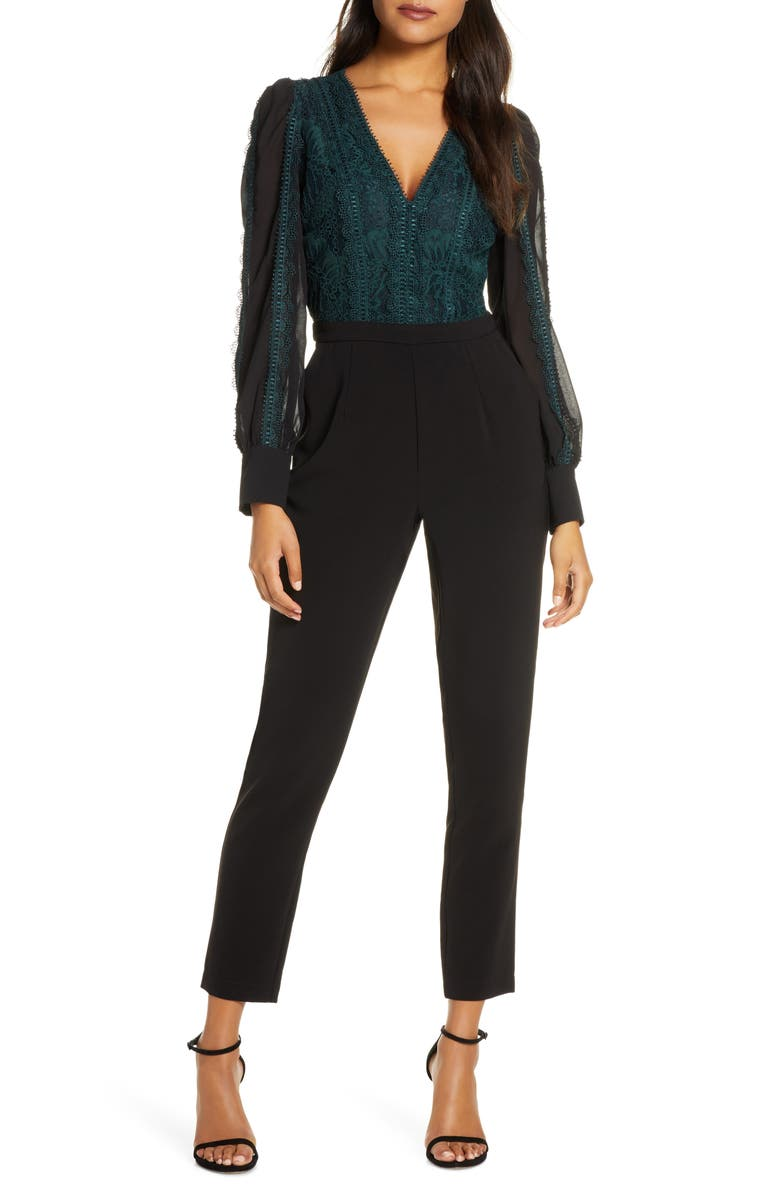 ADELYN RAE Cori Long Sleeve Lace Jumpsuit, Main, color, 331