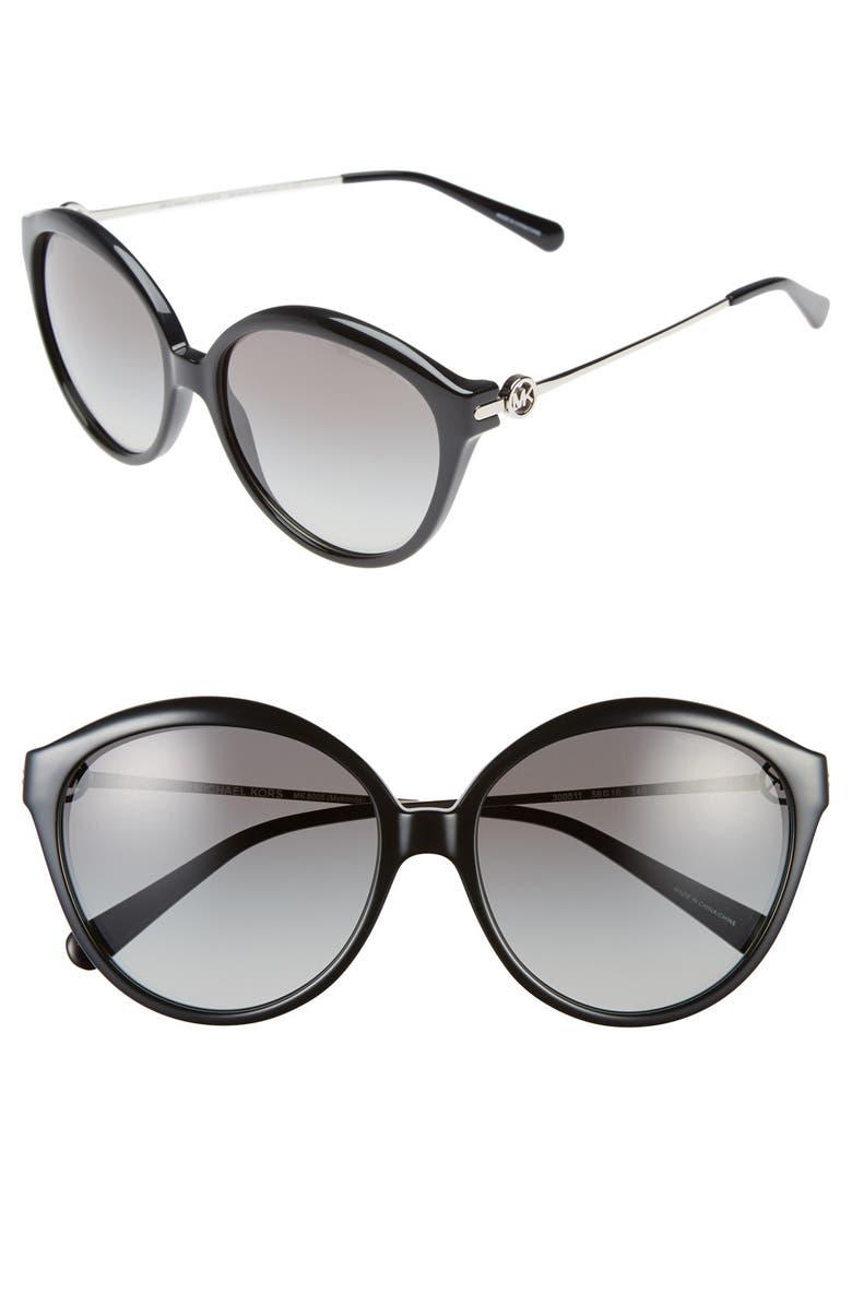 MICHAEL KORS Collection 58mm 'Mykonos' Retro Sunglasses, Main, color, 001