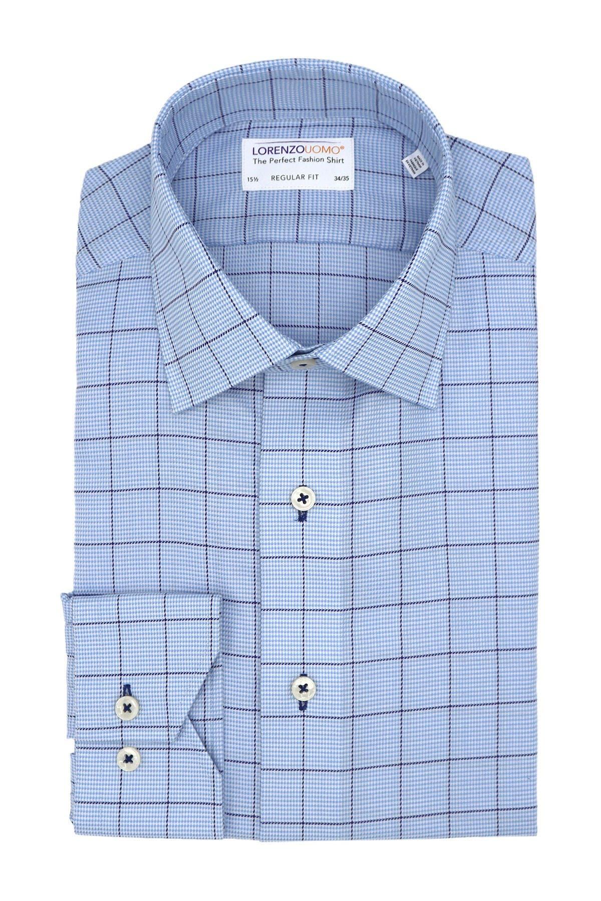 Image of Lorenzo Uomo Oxford Grid Print Regular Fit Dress Shirt