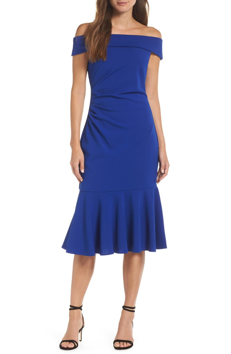VINCE CAMUTO Off the Shoulder Midi Dress, Main, color, 450