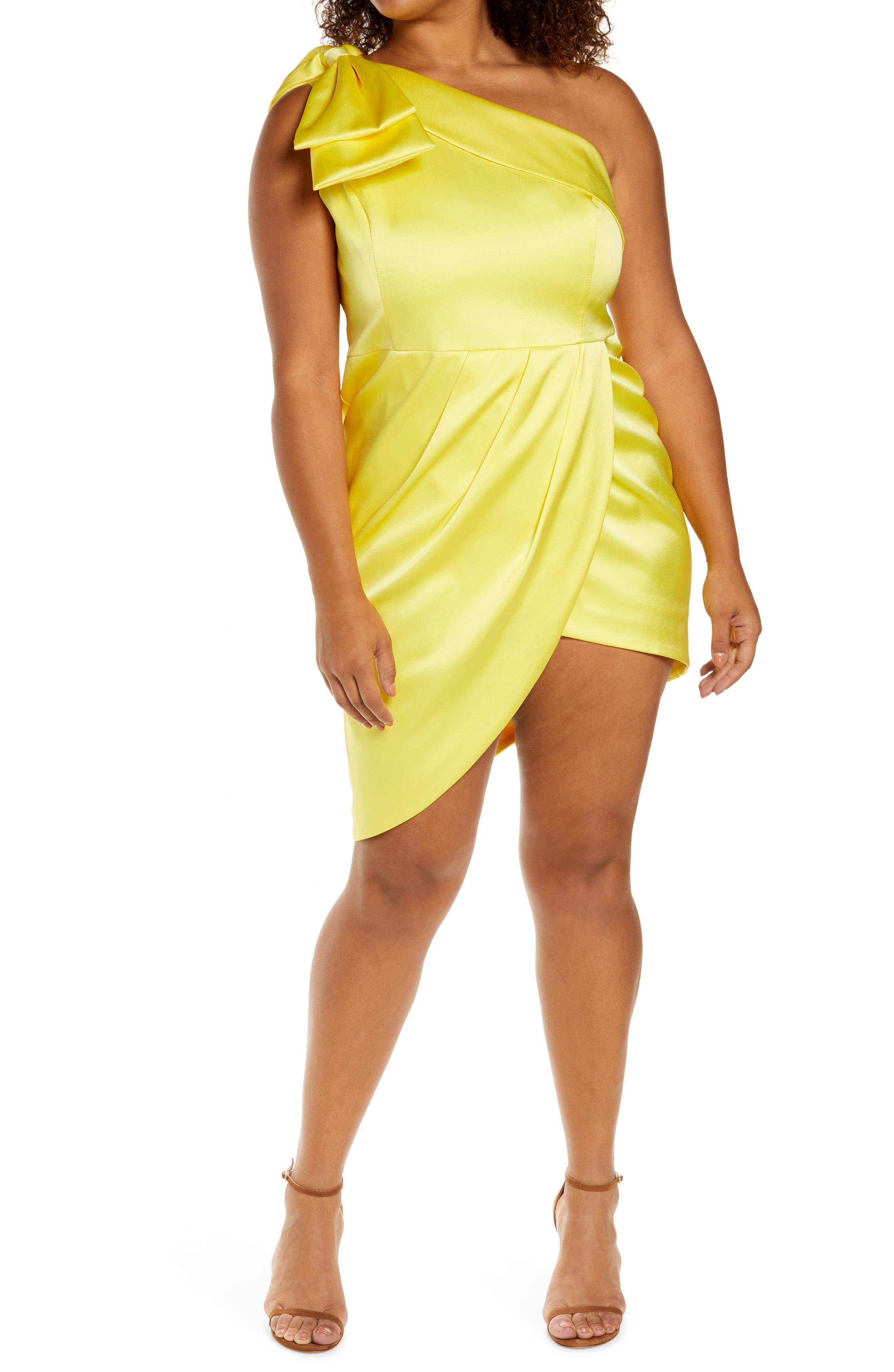 Bow One-Shoulder Satin Asymmetric Dress