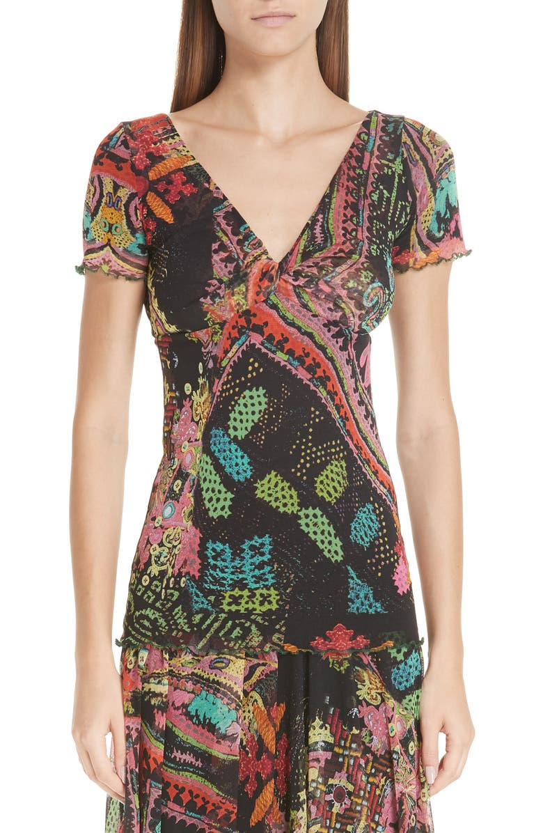 FUZZI Print Tulle Twist Top, Main, color, 001