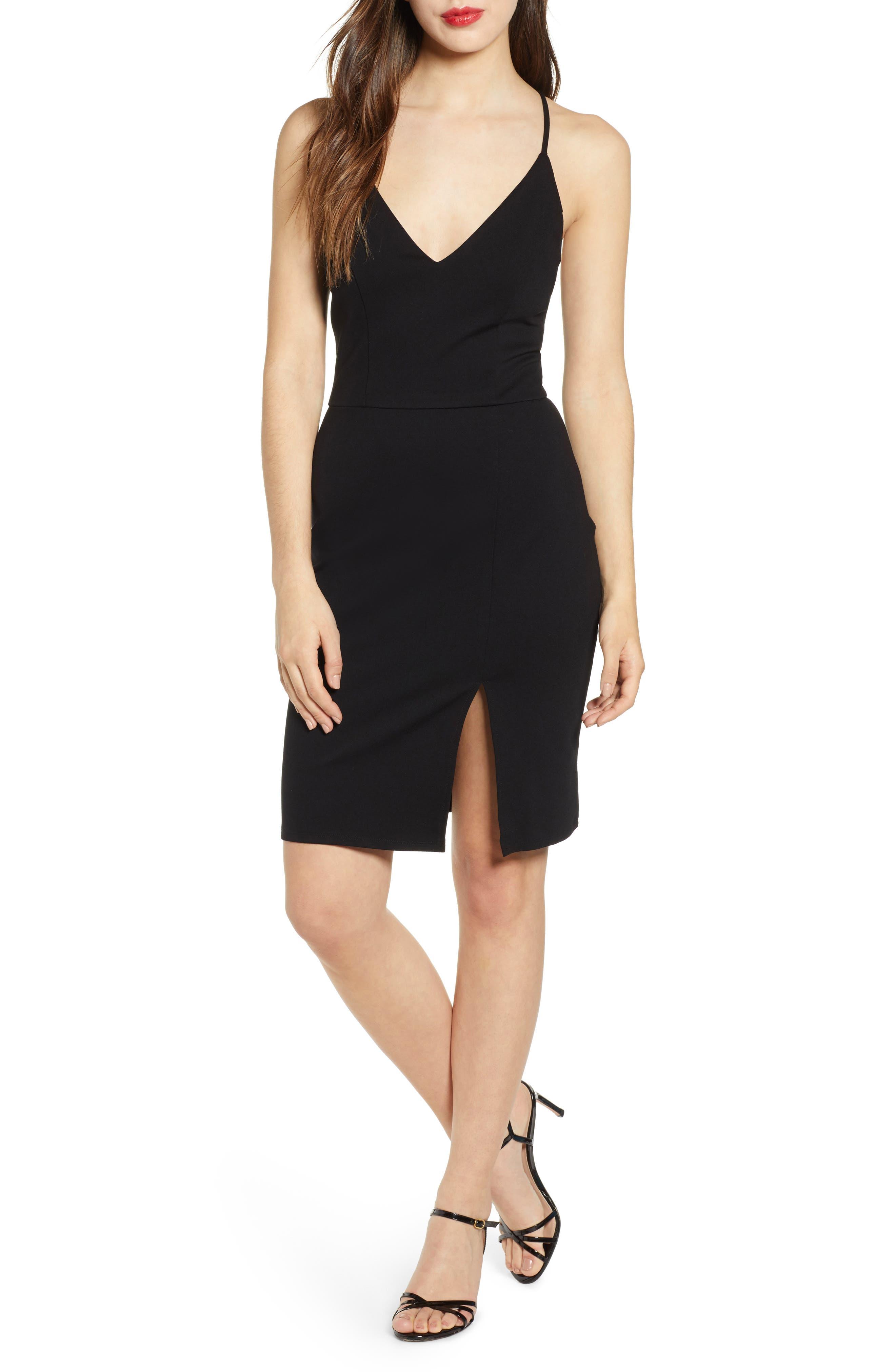 V-Neck Body-Con Dress, Main, color, BLACK