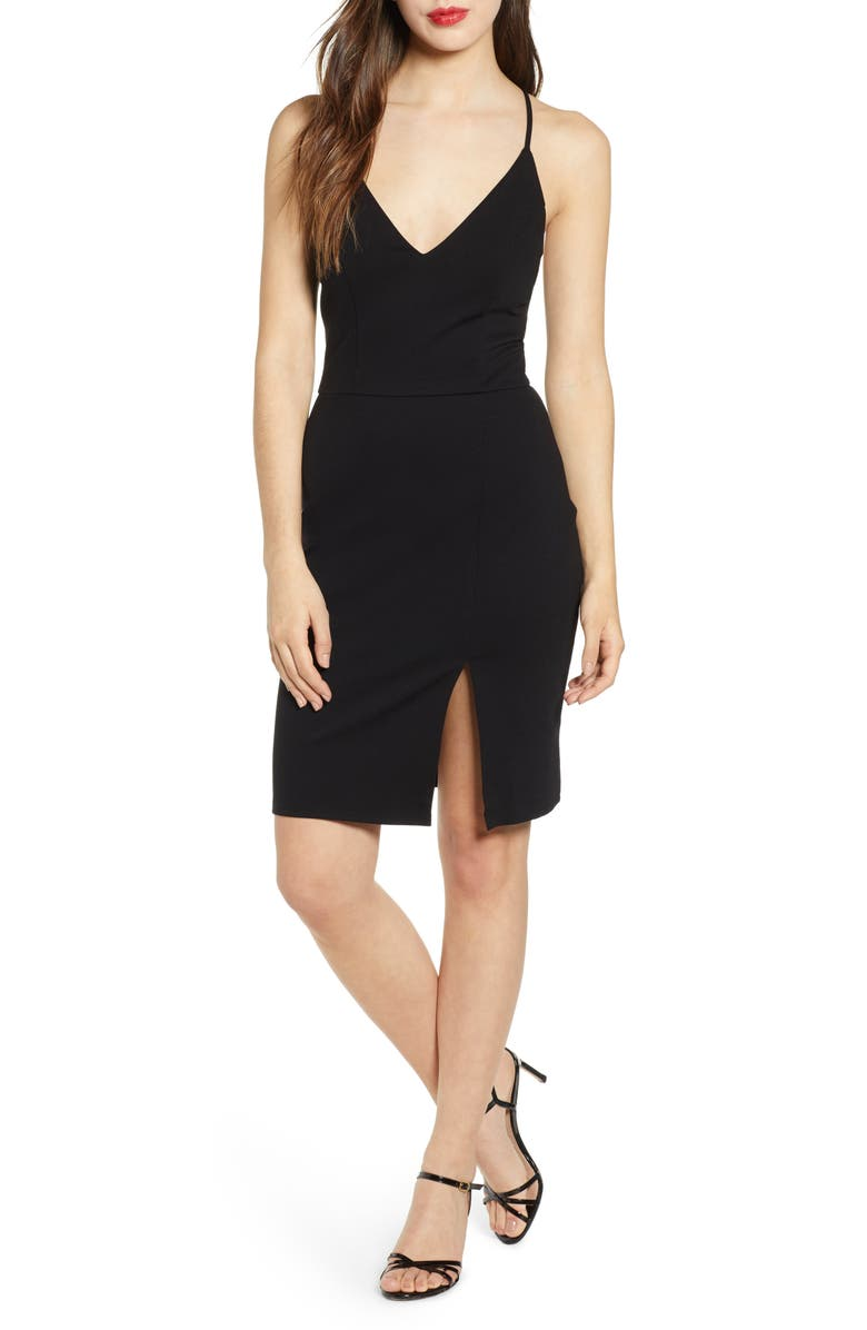 LEITH V-Neck Body-Con Dress, Main, color, 001