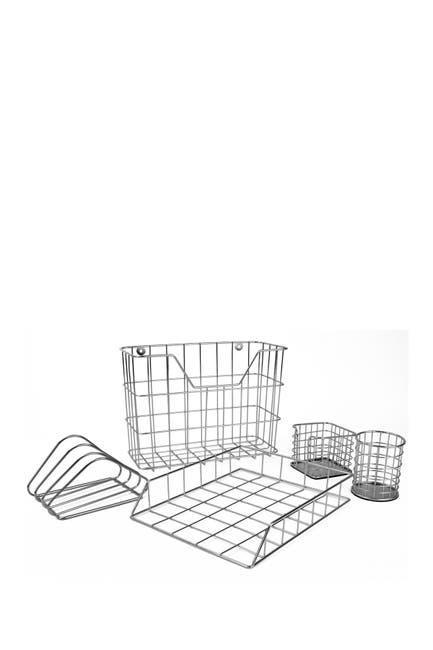 Image of Sorbus Silver Desk Organizer 5-Piece Set