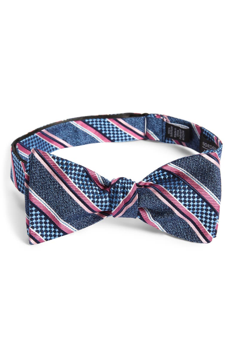 NORDSTROM MEN'S SHOP Russel Stripe Silk Bow Tie, Main, color, NAVY
