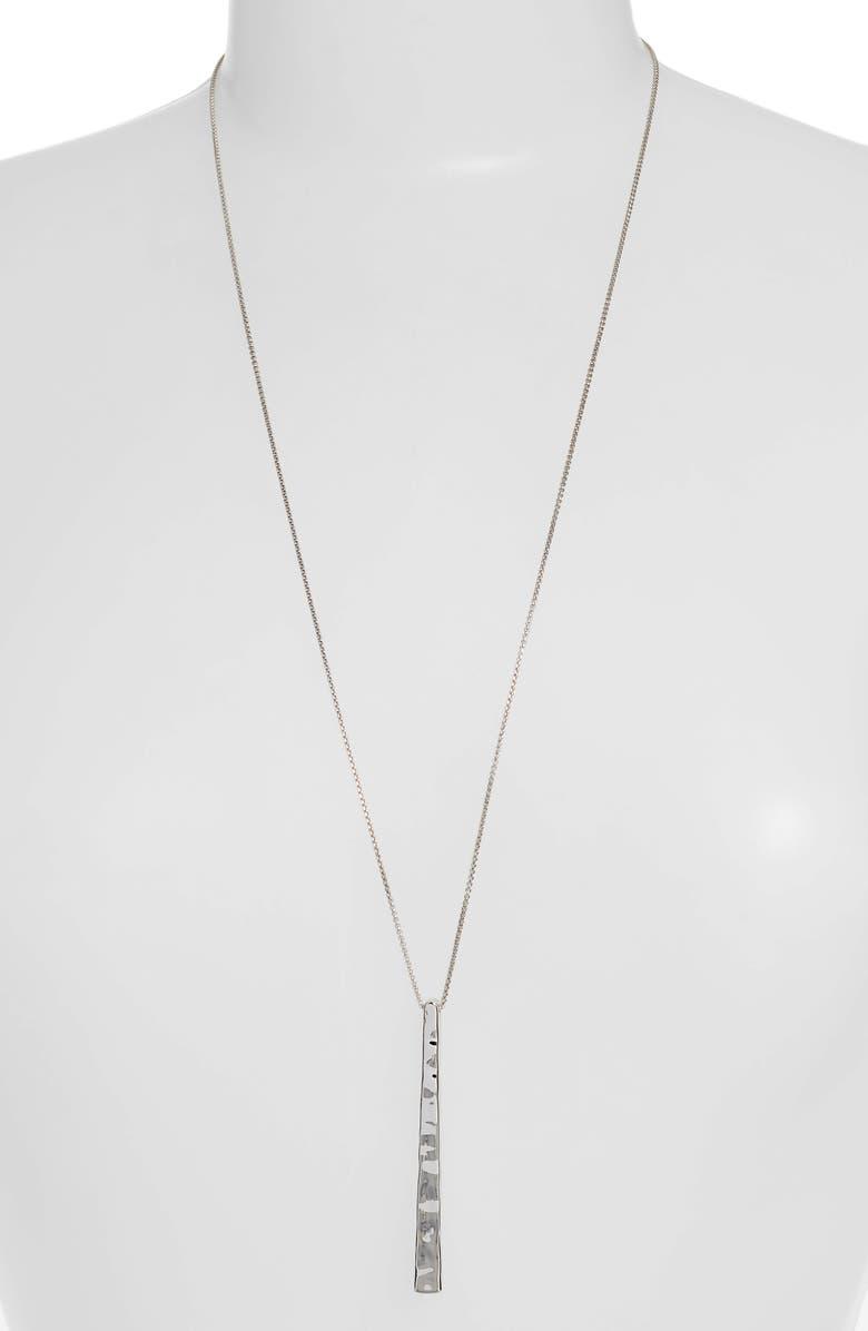 KENDRA SCOTT Zorte Long Pendant Necklace, Main, color, SILVER