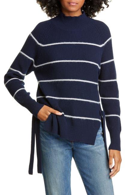 Image of Rebecca Taylor Striped Turtleneck Wool Blend Sweater