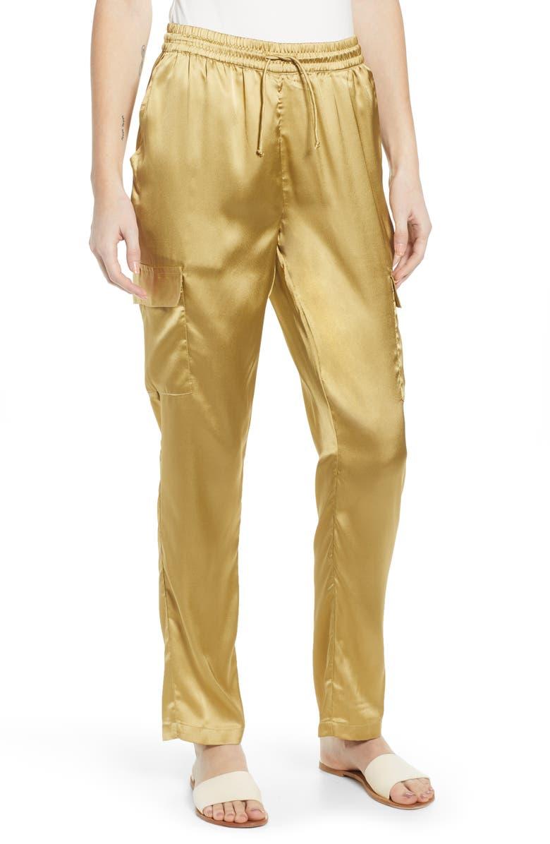 NOISY MAY Satin Cargo Pants, Main, color, KHAKI