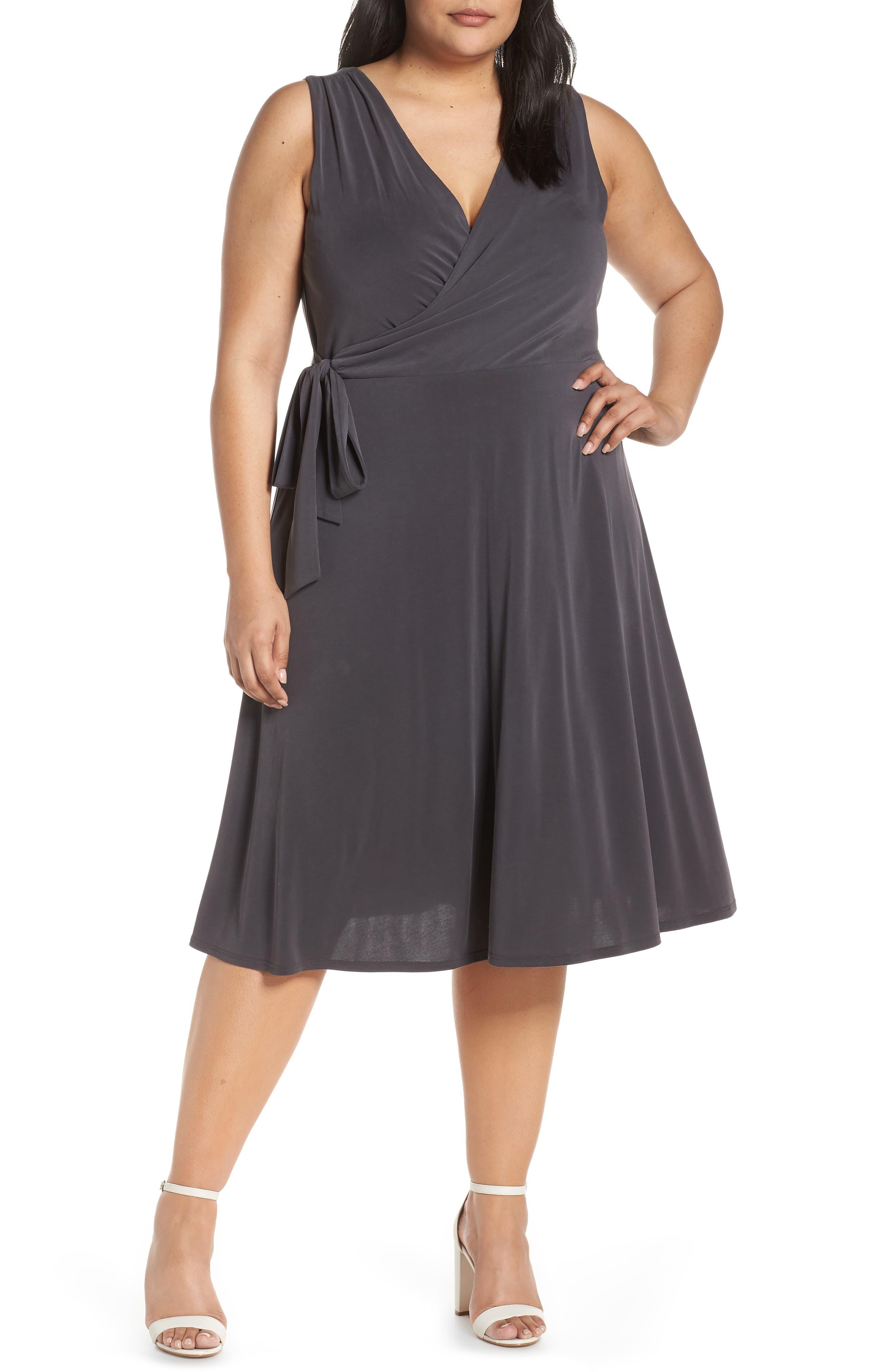Plus Size Chelsea28 Faux Wrap Tank Dress, Grey
