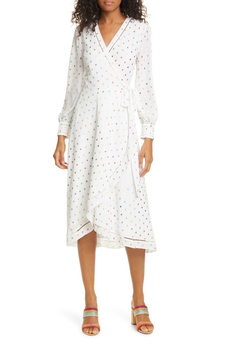 TED BAKER LONDON Tansie Metallic Dot Long Sleeve Wrap Dress, Main, color, IVORY