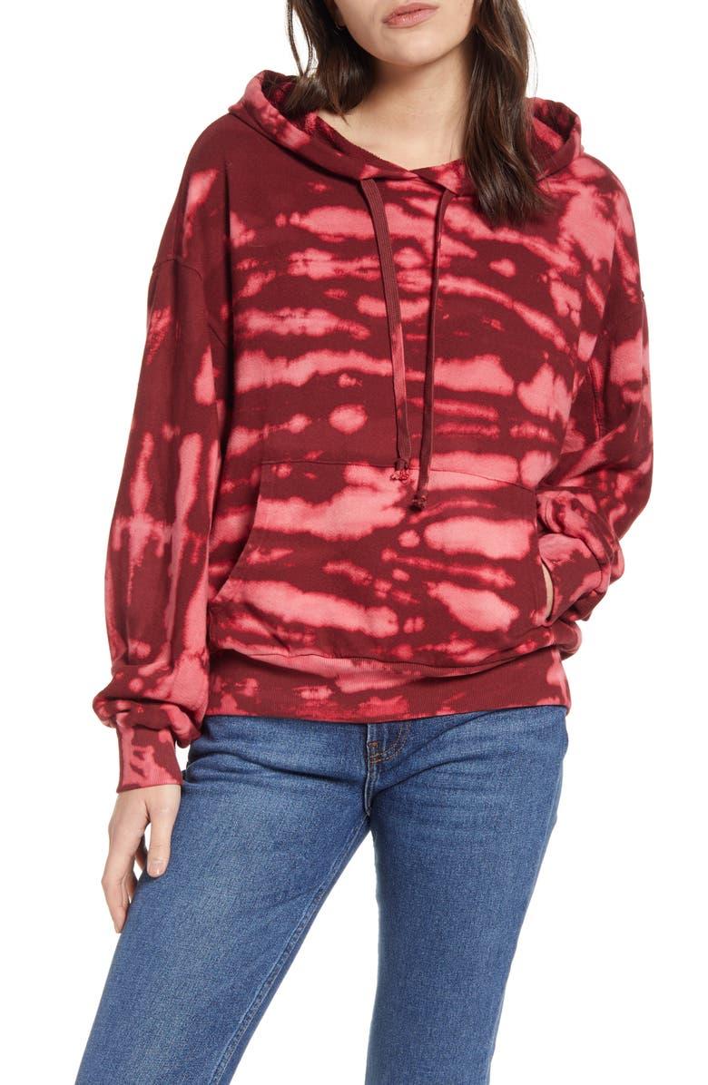 TREASURE & BOND Tie Dye Hoodie, Main, color, RED COMBO