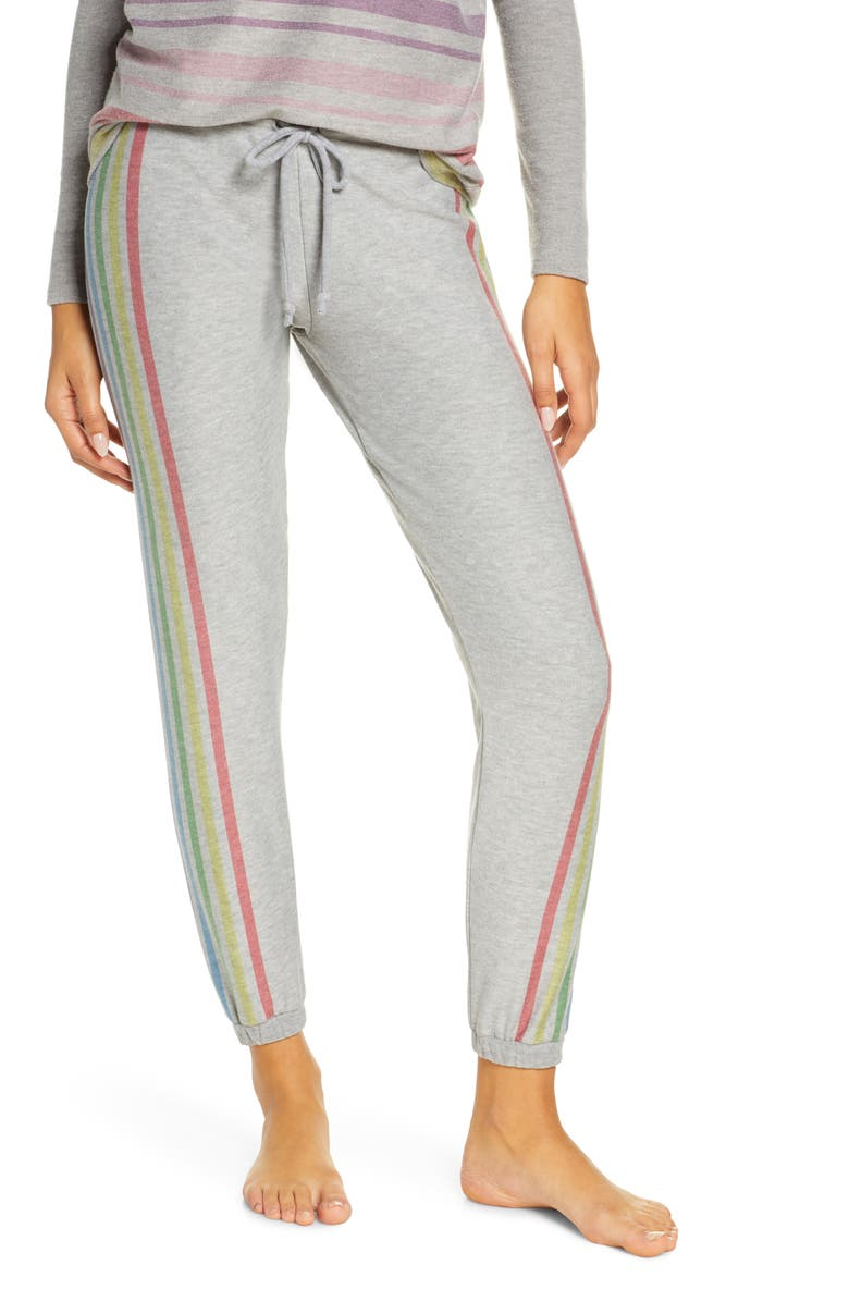 CHASER Rainbow Stripe Knit Lounge Jogger Pants, Main, color, 020