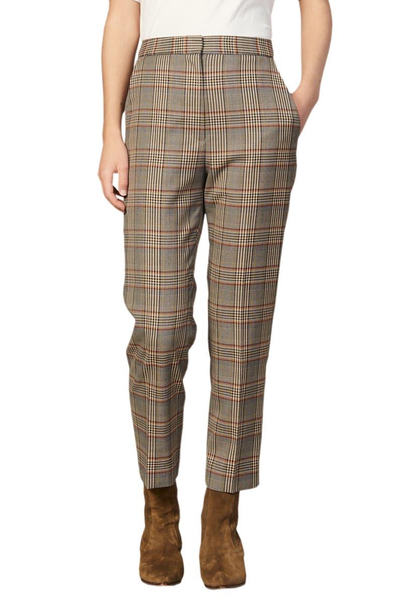 SANDRO Stainy Plaid Pants, Main, color, MULTI COLOR
