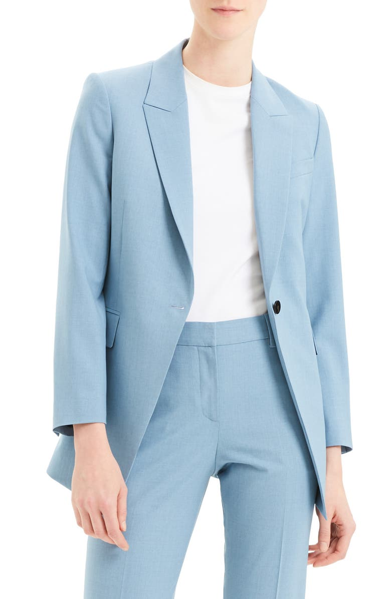 THEORY Etiennette B Good Wool Suit Jacket, Main, color, CHAMBRAY MELANGE