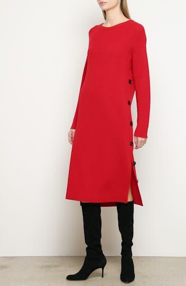 Side Button Long Sleeve Midi Sweater Dress, video thumbnail