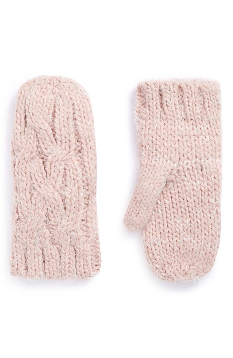 RUBY & BLOOM 'Eyelash' Cable Knit Mittens, Main, color, 660
