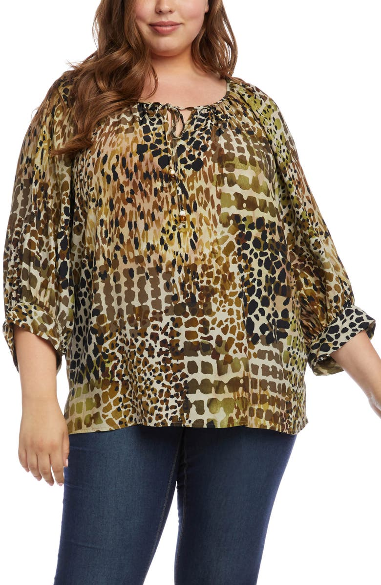 KAREN KANE Mixed Animal Print Peasant Top, Main, color, PRT