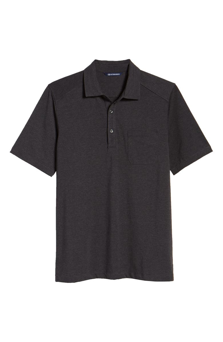 CUTTER & BUCK Advantage DryTec Jersey Polo, Main, color, BLACK HEATHER