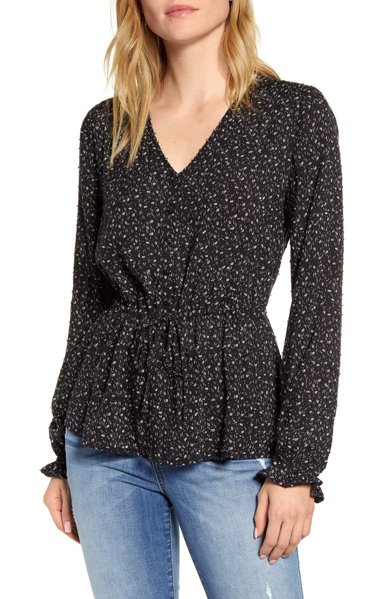 CASLON<SUP>®</SUP> Textured Print Top, Main, color, BLACK DOTTED FERN PRINT