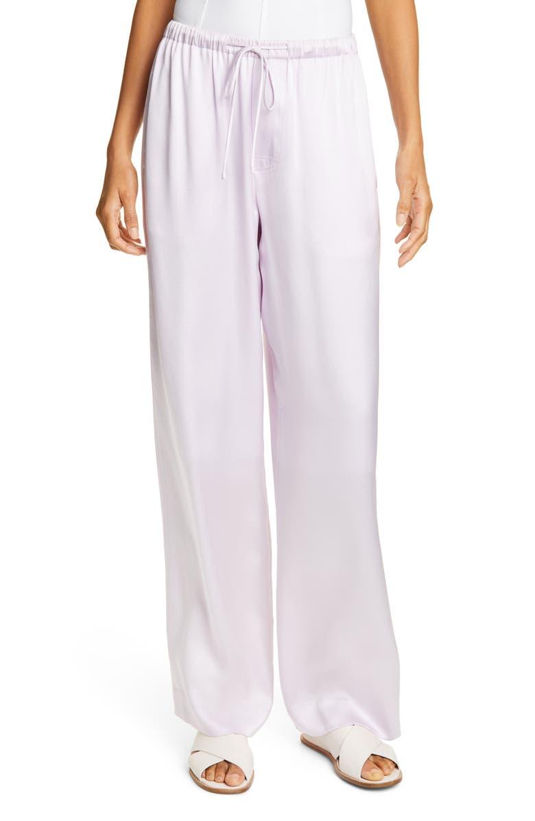 VINCE Satin Silk Pants, Main, color, PALE IRIS