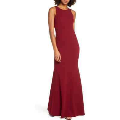 Lulus Strappy Back Crepe Mermaid Evening Gown