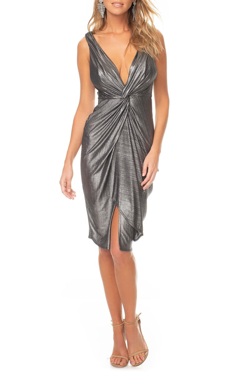 KATIE MAY Sass Twist Plunge Neck Body-Con Dress, Main, color, SILVER METALLIC
