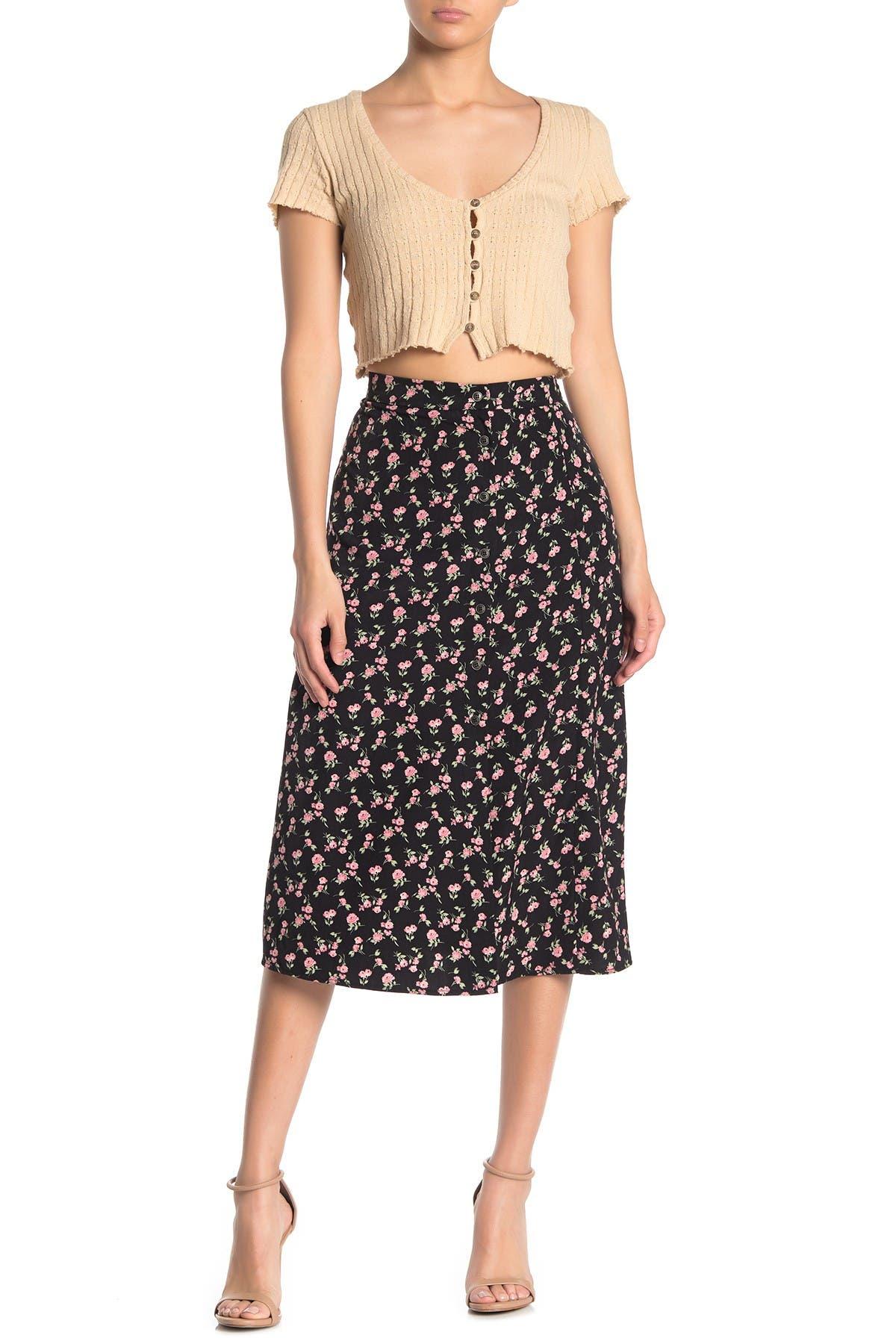 Image of GOOD LUCK GEM Printed Side Button Midi Skirt