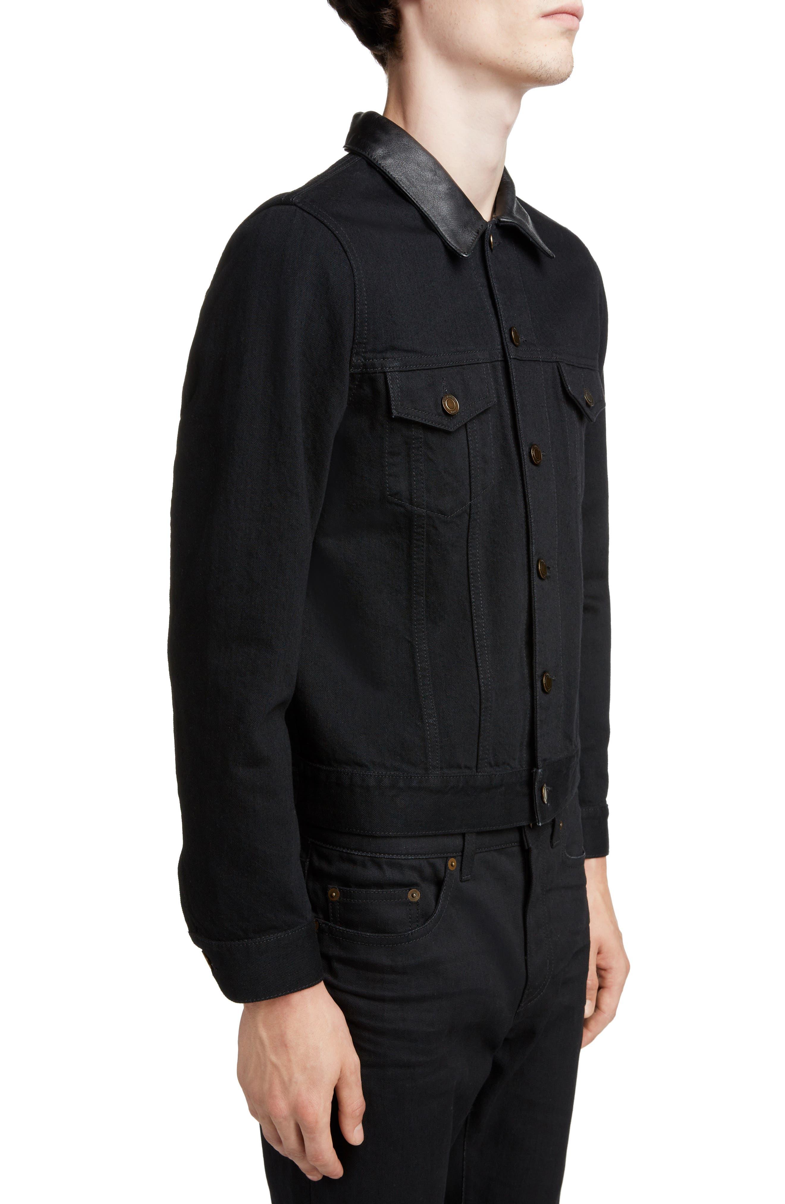 ,                             Fitted Denim Jacket,                             Alternate thumbnail 4, color,                             WORN BLACK