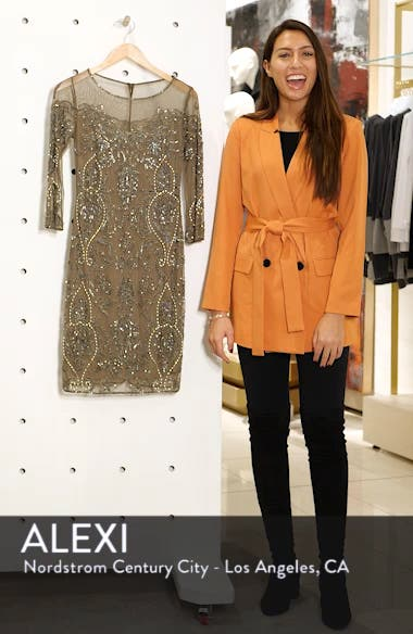 Beaded Illusion Mesh Sheath Dress, sales video thumbnail
