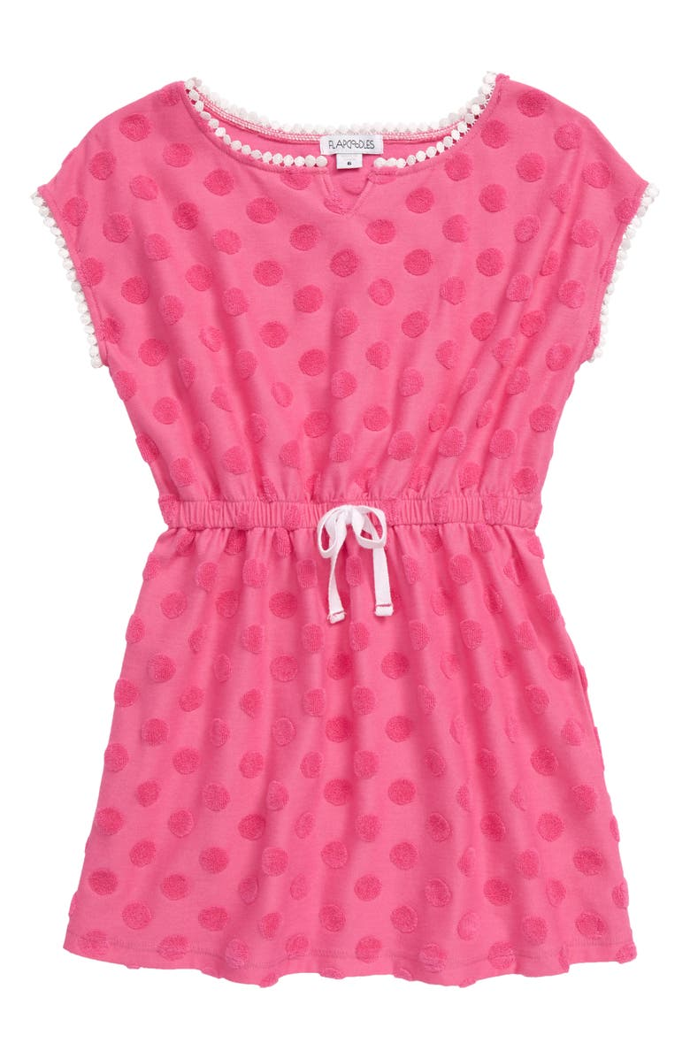 FLAPDOODLES Terry Dot Cover-Up Dress, Main, color, PINK