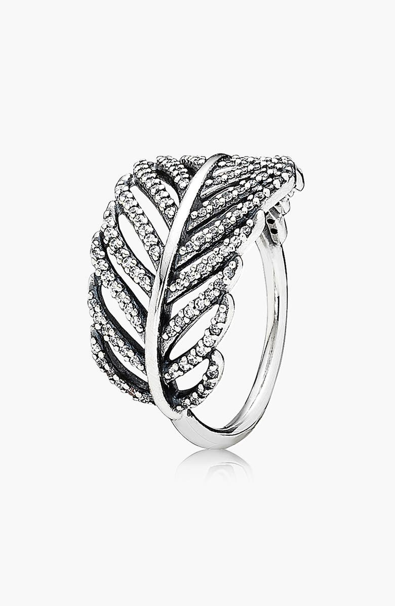 PANDORA 'Light as a Feather' Cocktail Ring, Main, color, 040