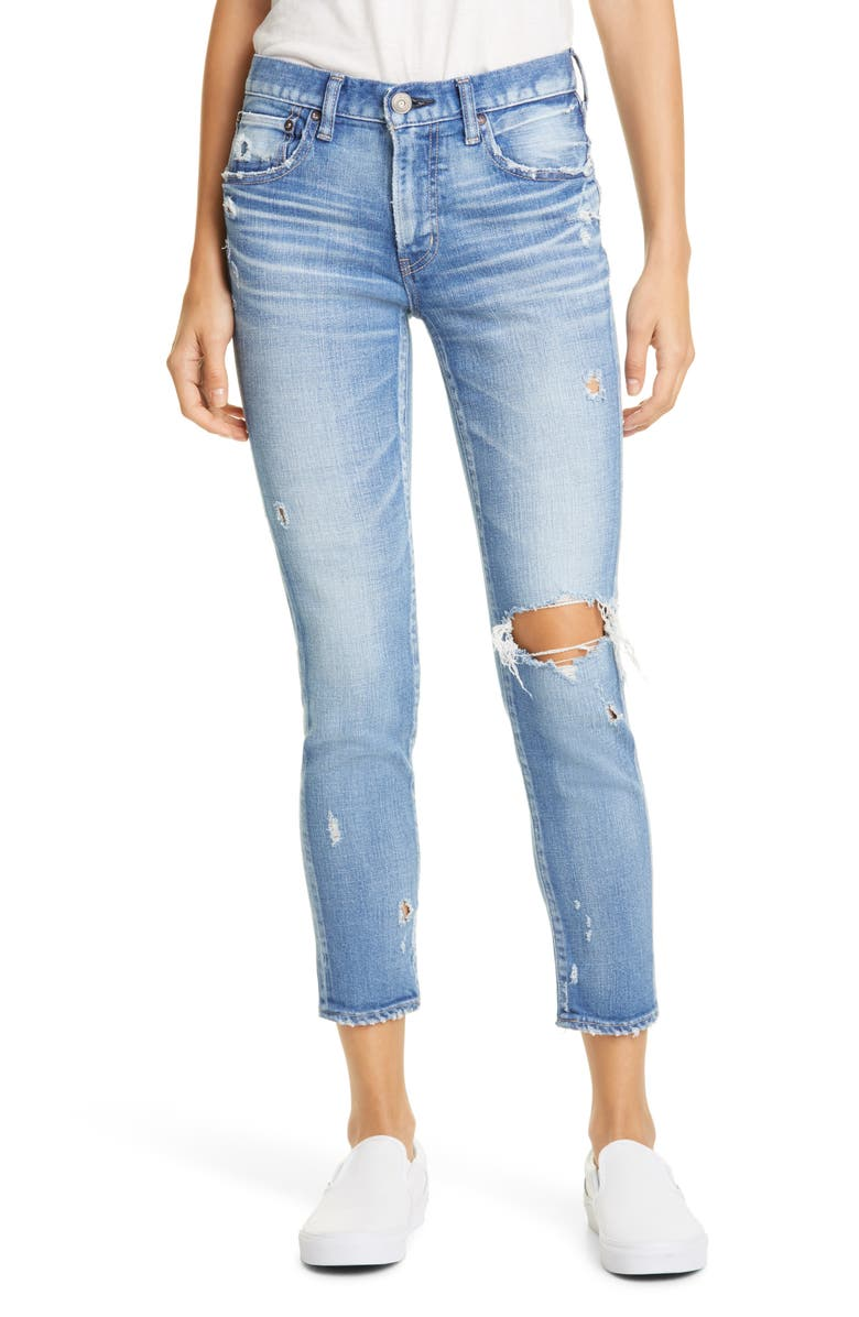 MOUSSY VINTAGE Helendale Ripped Skinny Jeans, Main, color, LIGHT BLUE
