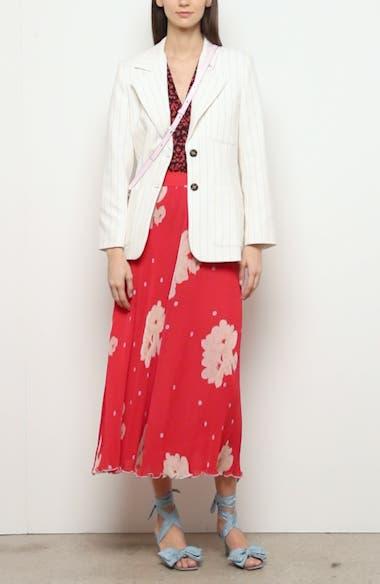 Floral Plissé Pleated Georgette Skirt, video thumbnail