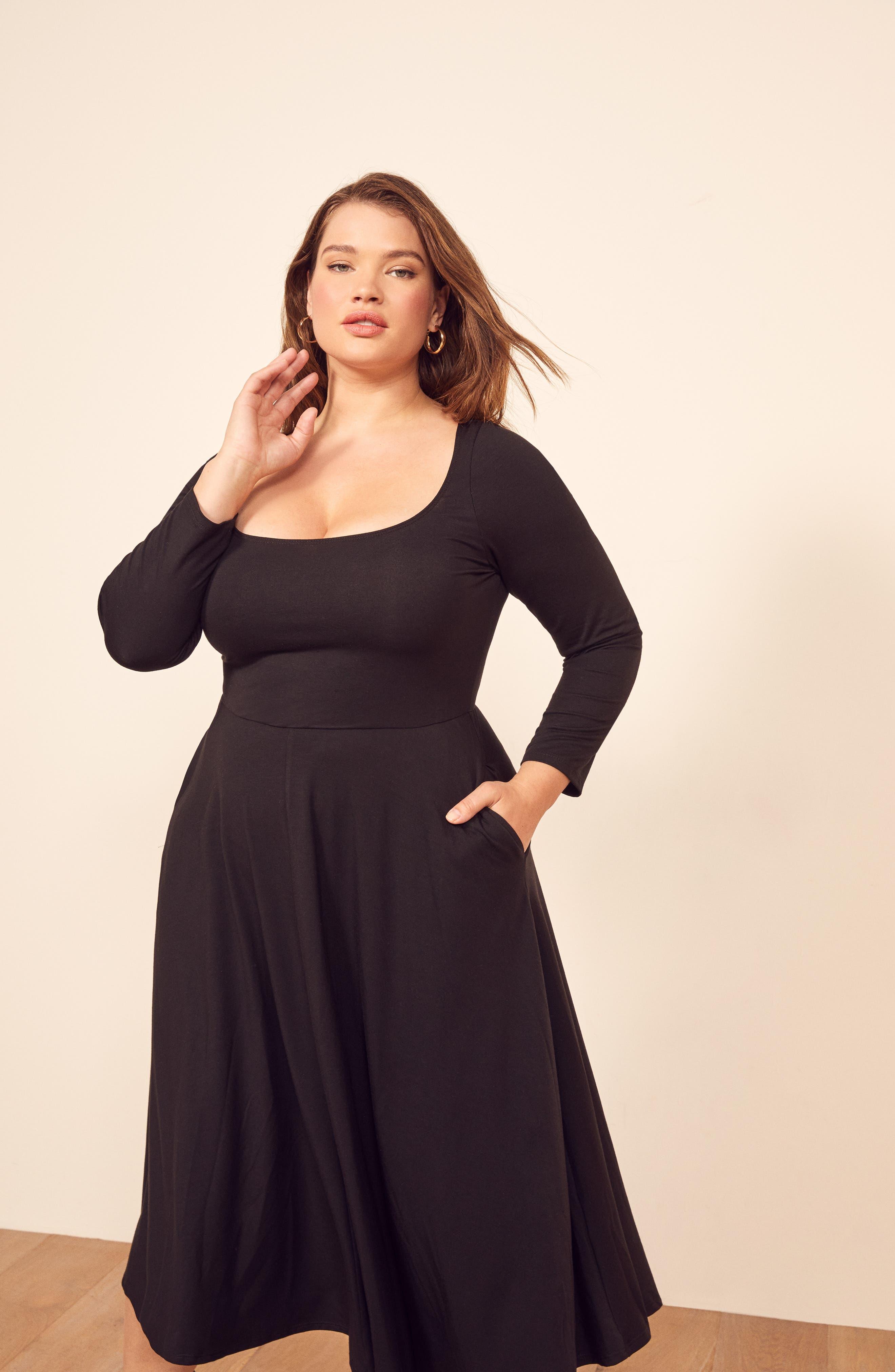 ,                             Lou Midi Dress,                             Alternate thumbnail 9, color,                             BLACK