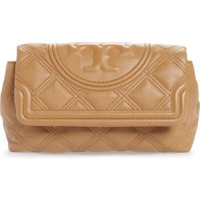 Tory Burch Fleming Soft Quilted Leather Clutch - Brown